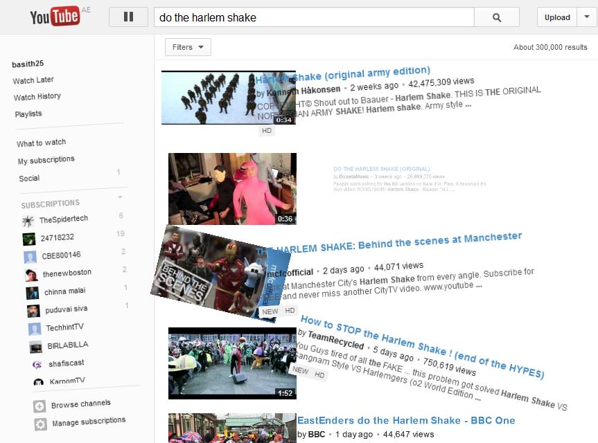 YouTube dance Harlem Shake