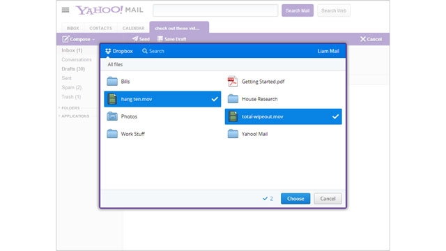 Yahoo Mail adds support to attach files from Dropbox