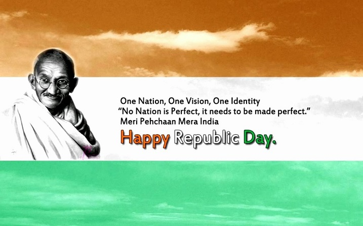 Happy Republic Day India Greeting Card with Mahatma Gandhi