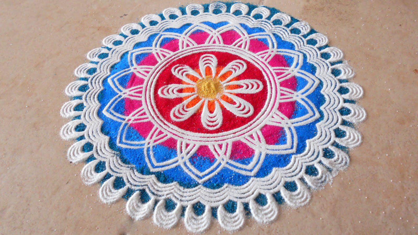 Best Rangoli Designs for Diwali 2016 | Free Hand Rangoli with Colors