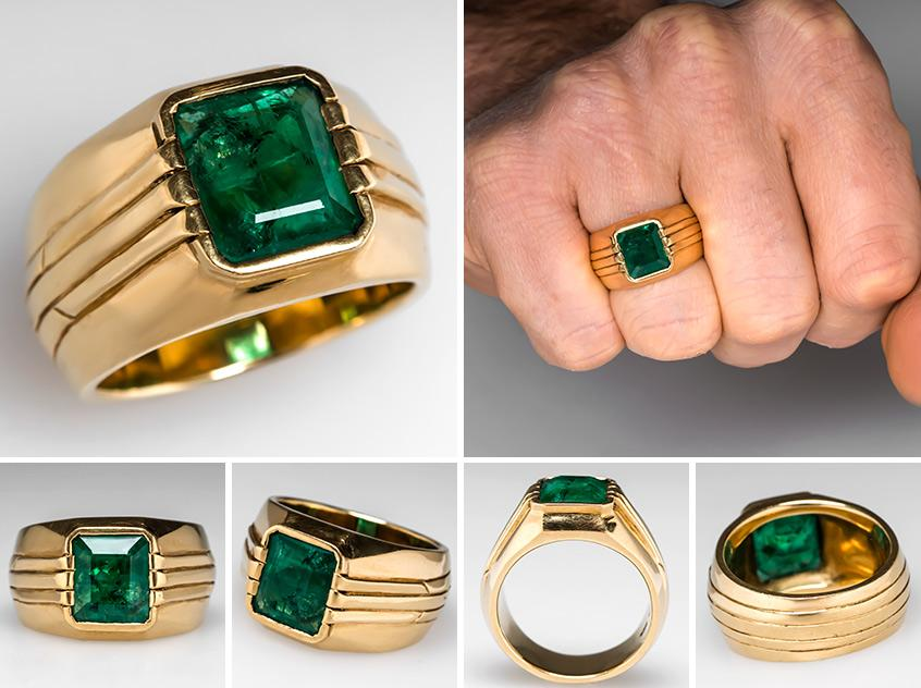 Mens Platinum Emerald Ring
