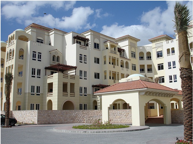 Front of apartment building, middle