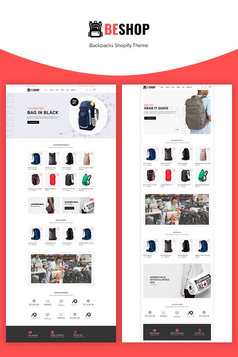 Beshop - Backpacks eCommerce Shopify Theme