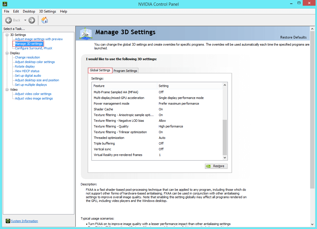 Nvidia display settings are not available