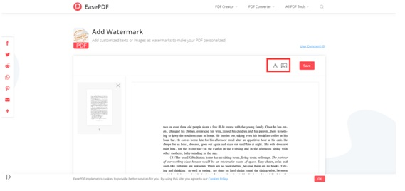 EasePDF Add Watermark Edit