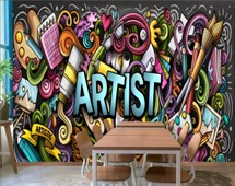Drawing Graffiti Artist with Colorful Painting