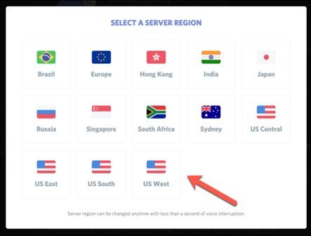 Discord Select Server region
