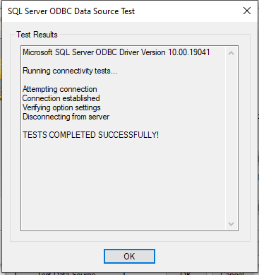 ODBC data source test completed-22
