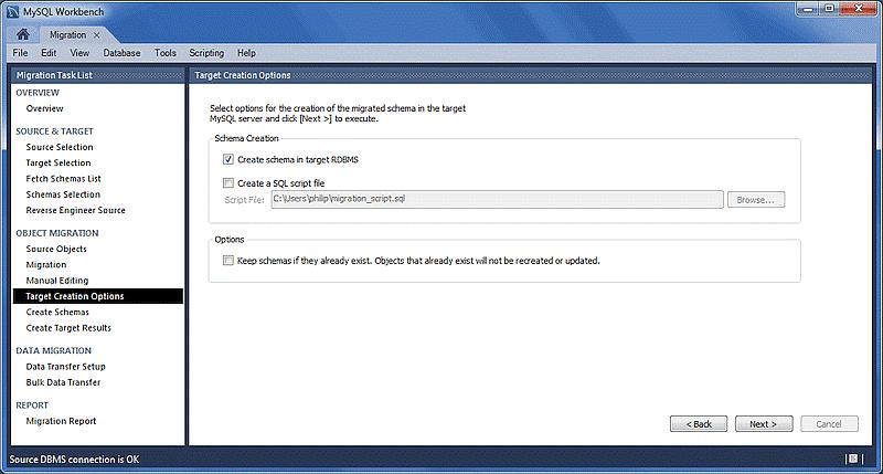 choose target schema creation options-34