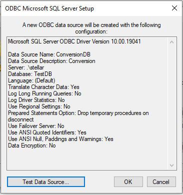 test data source connection window-15