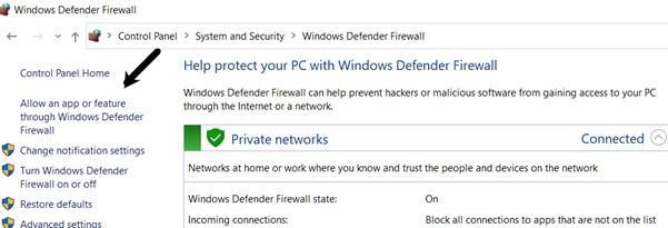 Adjust Windows firewall settings