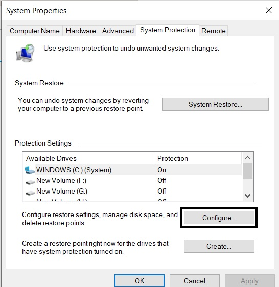 Enable System protection from Windows settings