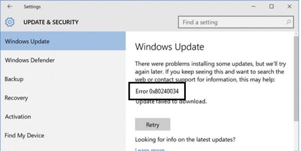 Fix Windows Update Error 0x80240034