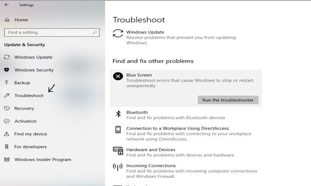 Run the Blue Screen troubleshooter
