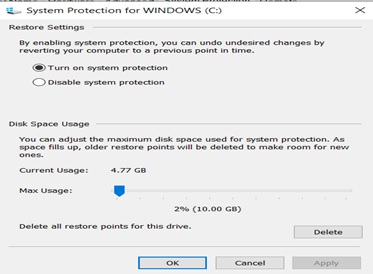Select turn on system protection