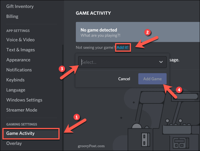 Add game to Discord