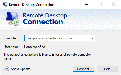 Enter the IP address and User name in the Remote Desktop Connection