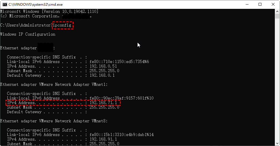 Get the IP address and username of the host computer