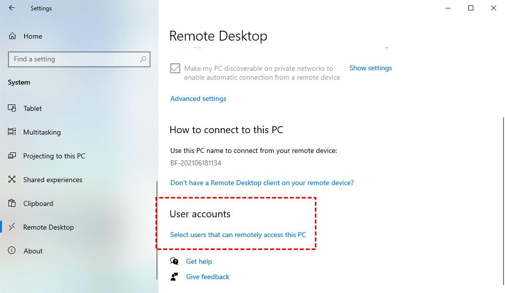 Remote Desktop User Account